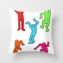 Dancers inspired to Keith Haring Throw Pillow