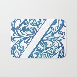 Letter Z Elegant Vintage Floral Letterpress Monogram Bath Mat