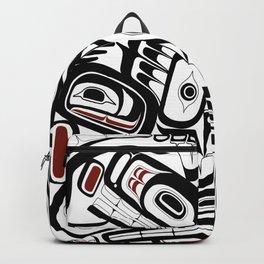 Salish style Orca Raven Bear totem Formline Hiada first nations native american Backpack