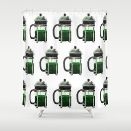 French Press - Green Shower Curtain