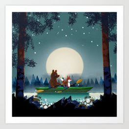 Bear and Fox Art Print