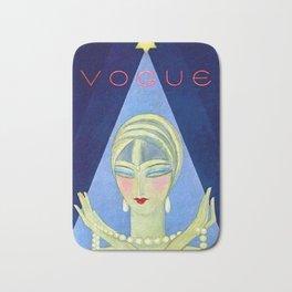1927 Vintage Art Deco Flapper Young Woman Winter Magazine Cover by Eduardo Garcia Benito Bath Mat