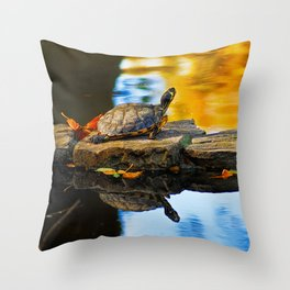 Turtle on the stone Throw Pillow