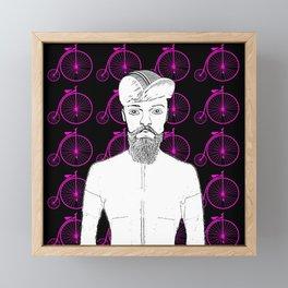 Vintage Penny Farthing Cyclist Design! Framed Mini Art Print