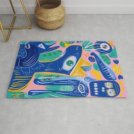 Street Art The Blue King with the Spirits of Jungle Rug