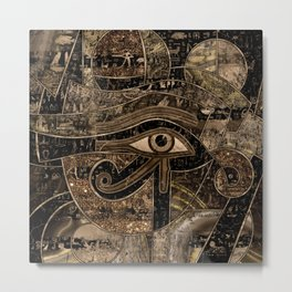 Egyptian Eye of Horus - Wadjet - Gold grunge Metal Print
