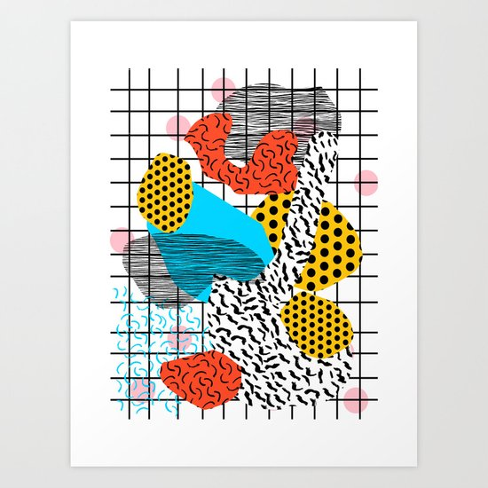 Wig Out - memphis style shapes retro pop art pattern dots stripes squiggles 1980's 80s 80 1980 retro Art Print