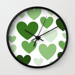 Green Love Hearts Wall Clock