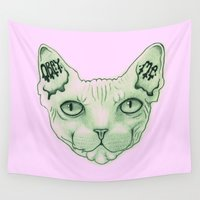 sphynx Wall Tapestries featuring Sphynx pink by PaigePea