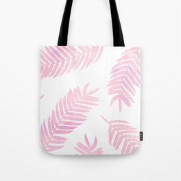 Pink Palm Leaves  |  White Background Tote Bag