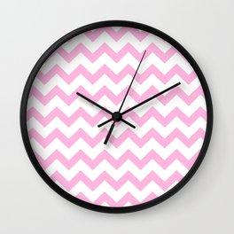 Chevron (Pink & White Pattern) Wall Clock