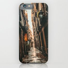 Barcelona Alley | Tilted Alleyway Streets in the City High Buildings Charming Moody Architecture  iPhone Case