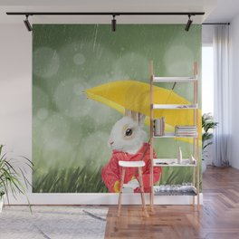 It's raining, little bunny! Wall Mural