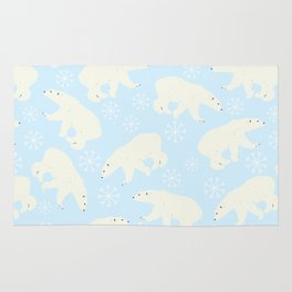 Polar Bear Snow Flake Pattern Rug
