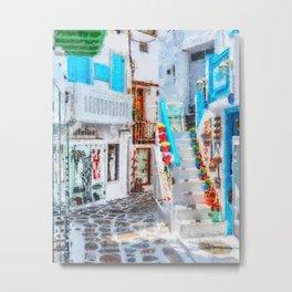 Mykonos Blue Shop Stairs Metal Print