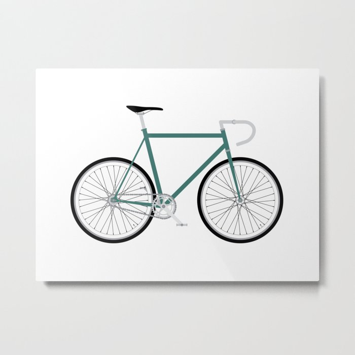 Fixed Gear Bike - Green Metal Print
