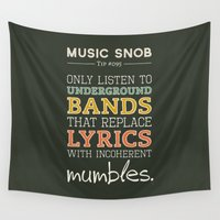 bands Wall Tapestries featuring MORE Mumbling Bands — Music Snob Tip #095.5 by Elizabeth Owens