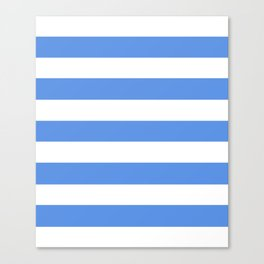 United Nations blue - solid color - white stripes pattern Canvas Print
