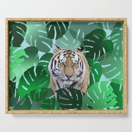 Monstera leaves tiger jungle #society6 Serving Tray