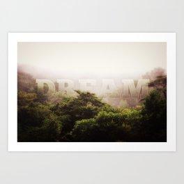 Dream Cloud Forest Hazy Typography Landscape Volcano Art Print