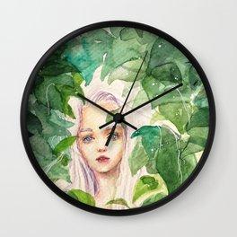 Fairy in Green Lush Garden Wall Clock