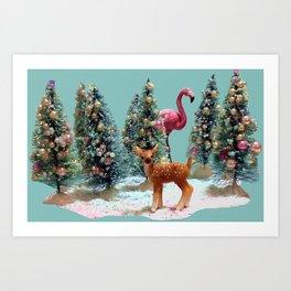 VINTAGE CHRISTMAS TREES with Flamingo and snow, CHRISTMAS BOTTLE BRUSH TREE, With deer and Flamingo Art Print