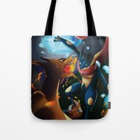 charizard Tote Bags featuring Charizard VERSUS Greninja by Witchy