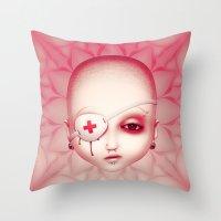 misfits Throw Pillows featuring Misfits - Sam by Raymond Sepulveda