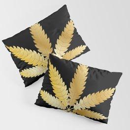 Gold Cannabis Leaf Pillow Sham