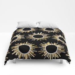 Art Deco Starburst in Black Comforters