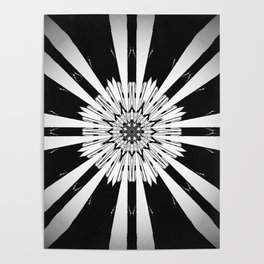 Bold Black and White Stripe Modern Star Design Poster