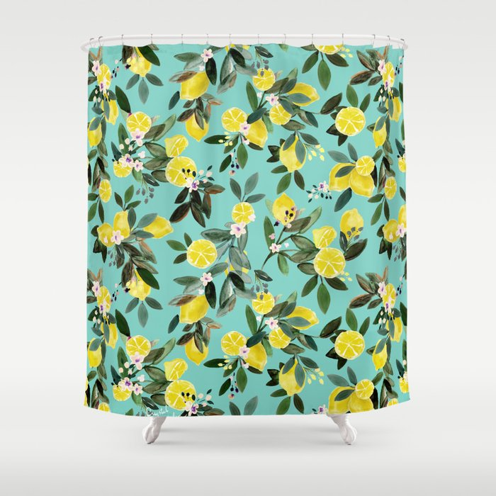 Summer Lemon Floral Shower Curtain
