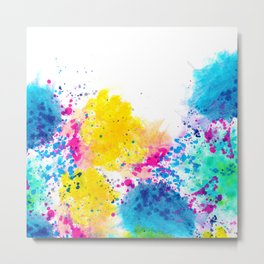 Blue Yellow Abstract Watercolor Neon Pink Splatter Metal Print