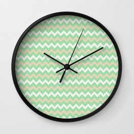 Pastel Green, Beige & Linen White Chevron Line Pattern Pairs to Noe Mint 2020 Color of the Year Wall Clock