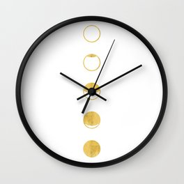 Moon Phase, Lunar Cycle, White and Gold, New Moon, Geometric Circles, Modern, Simple, Luxe Wall Clock