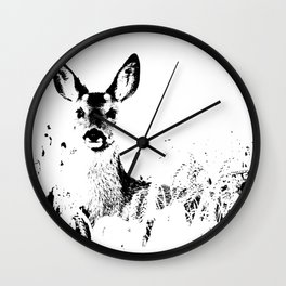 ROE DEER BLACK ON WHITE Wall Clock