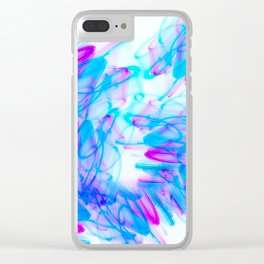 Abstract Art with Swirls Aqua and Magenta Clear iPhone Case