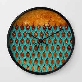 Copper Metal Foil and Aqua Mermaid Scales - Beautiful Abstract glitter pattern Wall Clock