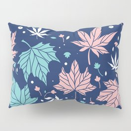 Pink and blue-green Japanese maple leaves pattern Pillow Sham