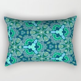 Teal, blue and green abstract pattern Rectangular Pillow