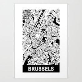 Brussels, Belgium, city map, White Art Print