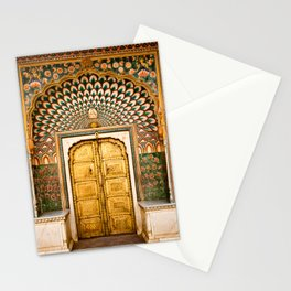 Lotus gate door in pink city at City Palace of Jaipur, India Stationery Cards