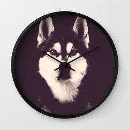 Vintage Oil Painting Husky Dog Special Design for Dog Lovers Wall Clock
