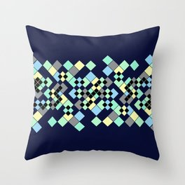 Abstract geometric pattern. Small colored squares in dark blue. Throw Pillow