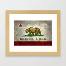 Californian flag the Bear flag in retro grunge Framed Art Print
