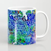 new york map Mugs featuring new york new york map by Bekim ART