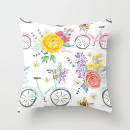 Bike and bouquets pattern Throw Pillow