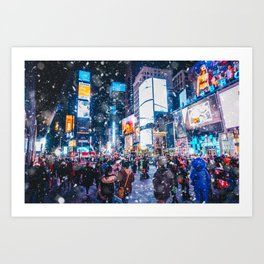 People and famous led advertising panels in Times Square during snow, one of the  symbol of New York Art Print