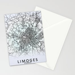 Limoges, France, White, City, Map Stationery Cards