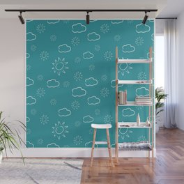White clouds and sun pattern Wall Mural